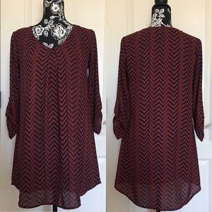 Lush Zigzag Chiffon Long Sleeve Mini Dress